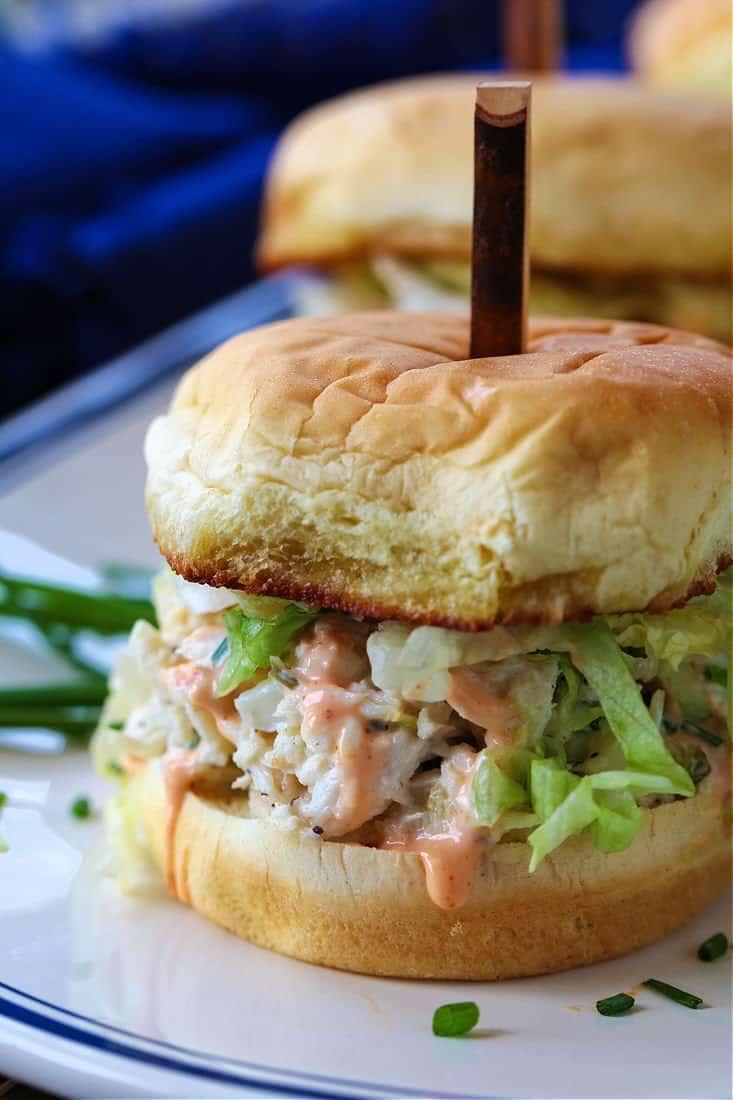 Slider recipe with crab salad