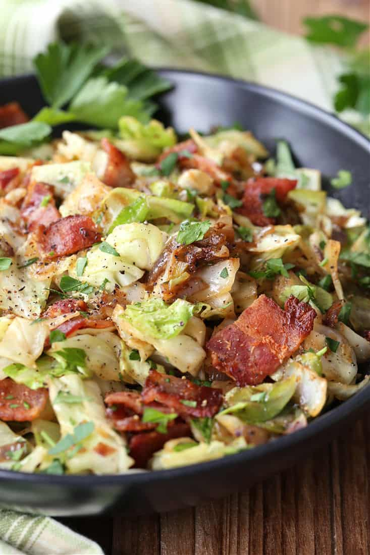 Fried Cabbage recipe with bacon and caramelized onions