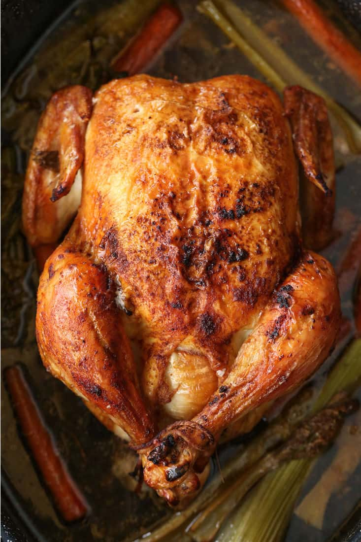Whole Roasted Chicken in a roasting pan