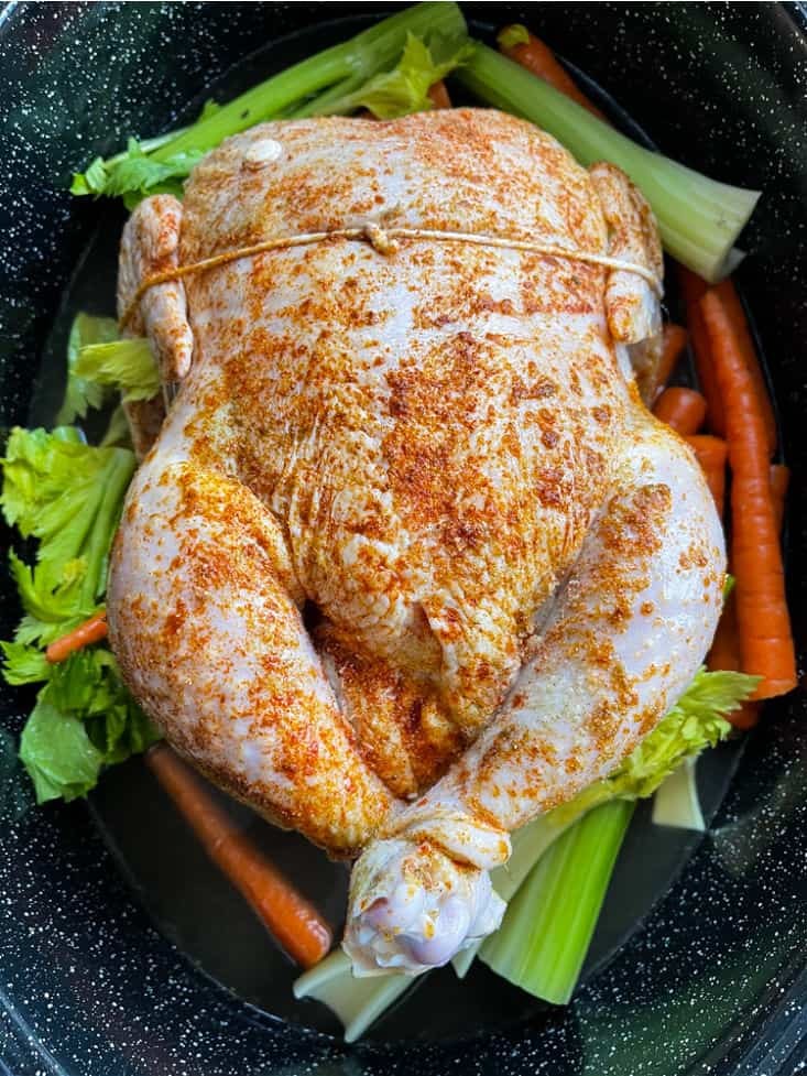 A whole chicken in a roasting pan with vegetables