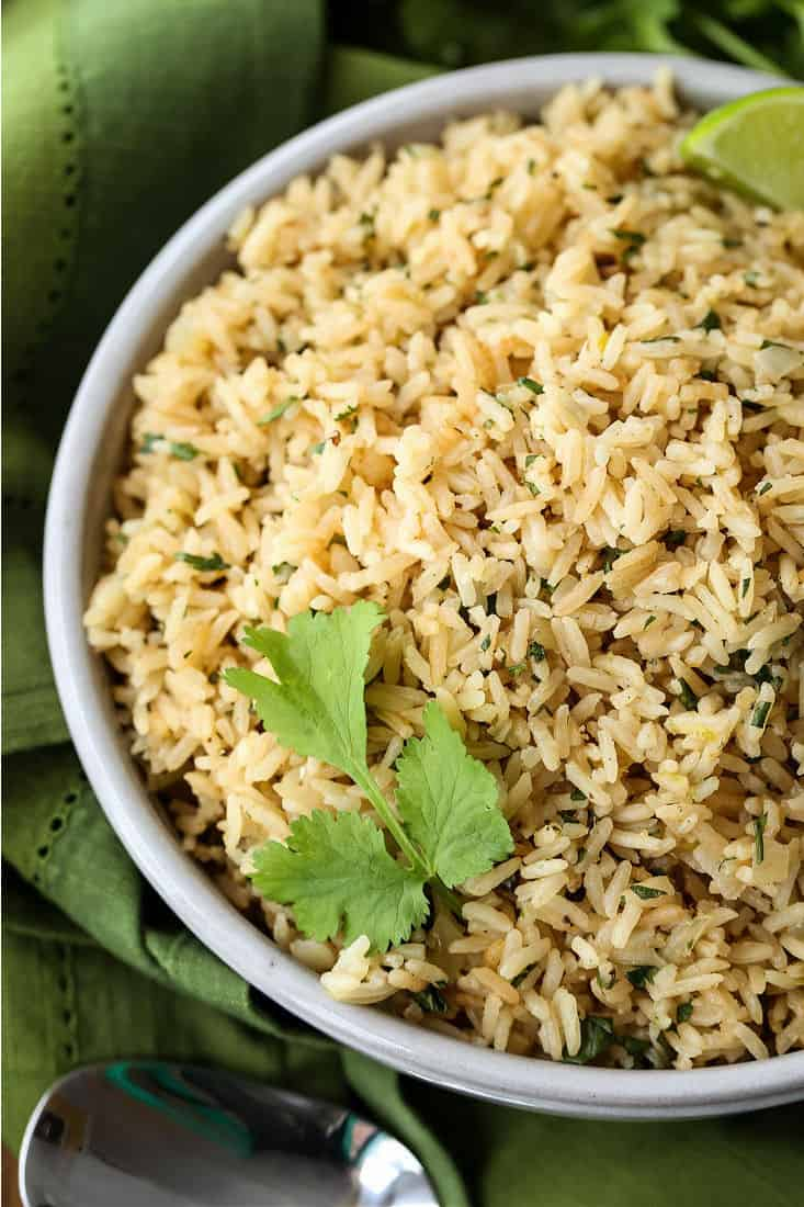 Cilantro Lime Rice in a bowl from the top