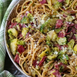 Leftover corned beef recipe with spaghetti and brussels sprouts