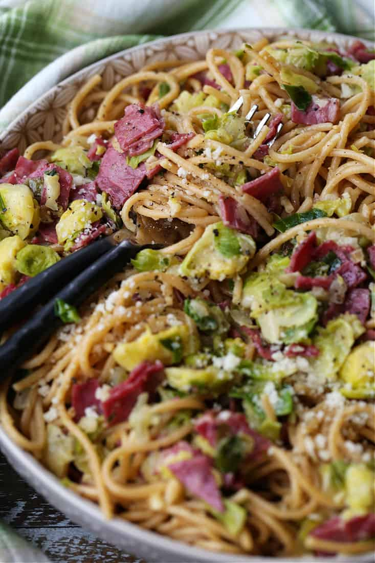 Spaghetti recipe with leftover corned beef and brussels sprouts