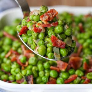 Peas and Bacon on a serving spoon