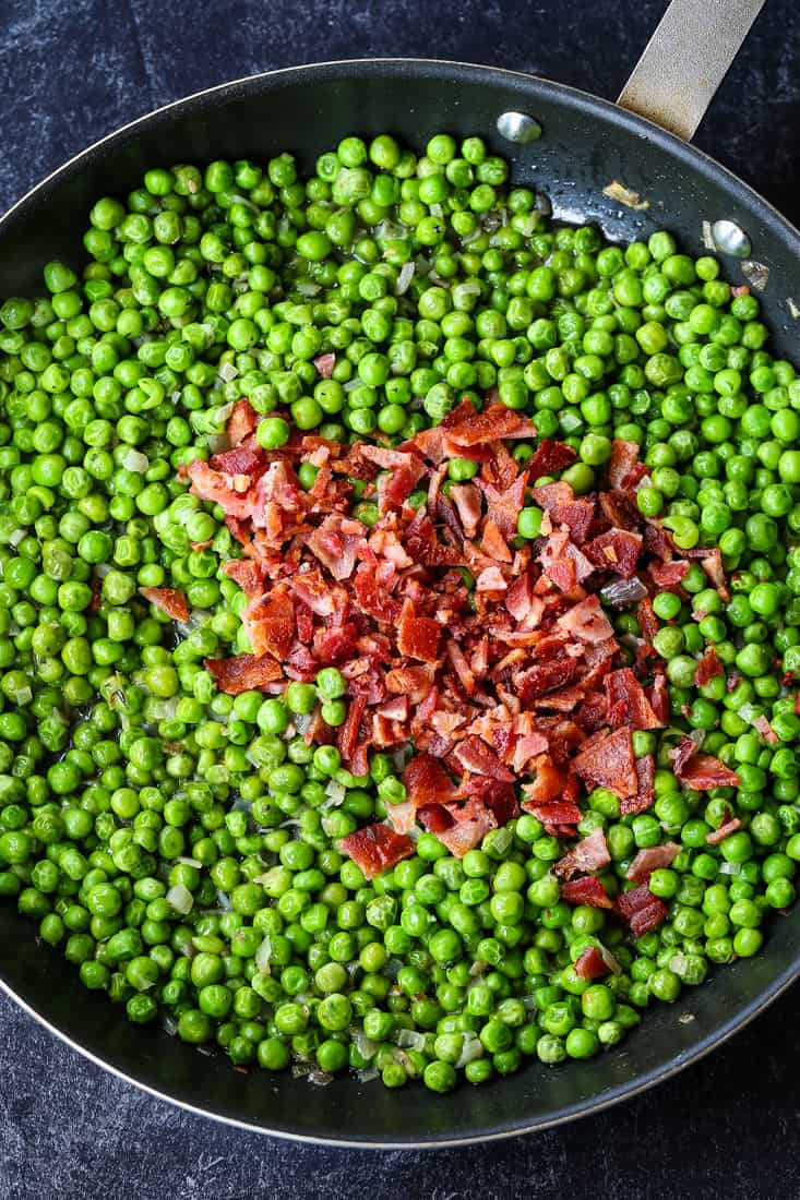 Peas and Bacon in a skilet