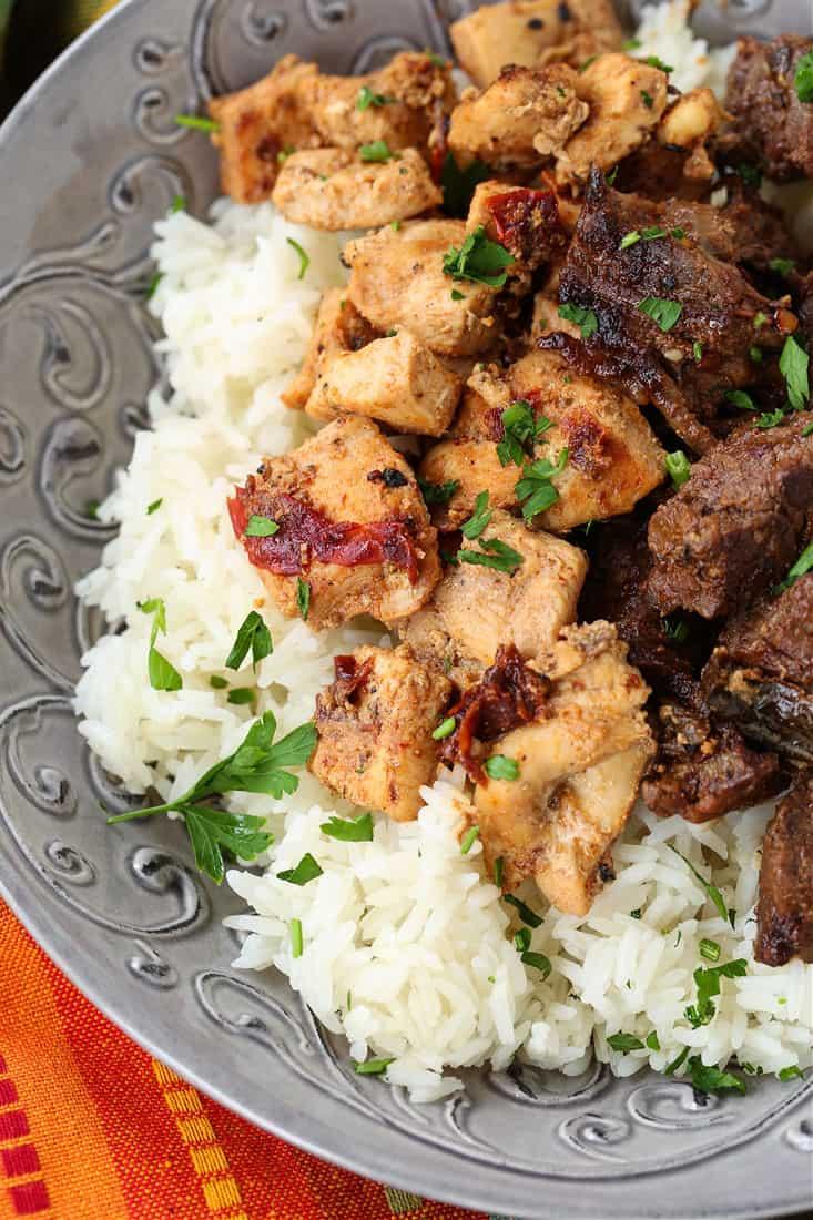 Honey Chipotle marinated chicken and steak