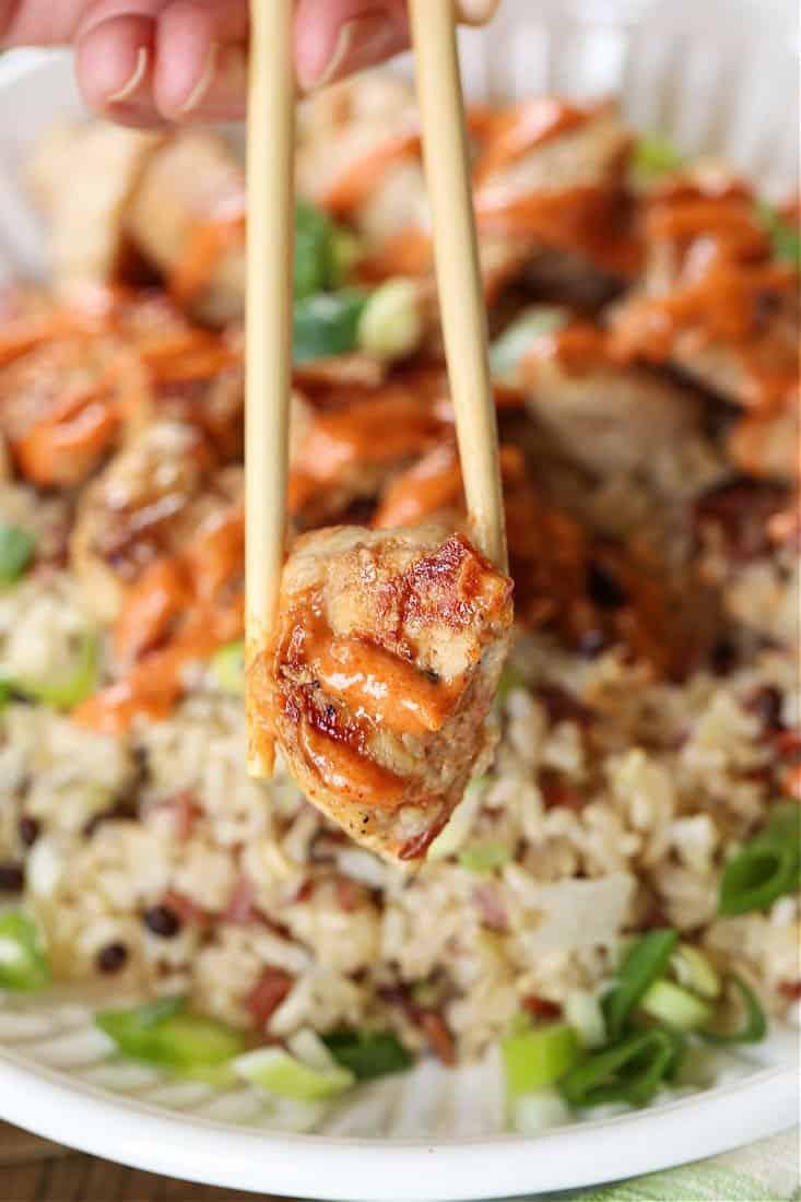 Hibachi Chicken on a chop stick