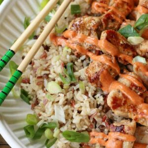 Hibachi Chicken in a bowl with yum yum sauce