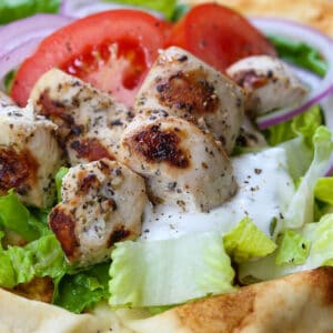 Grilled, marinated chicken on pita bread with fresh vegetables