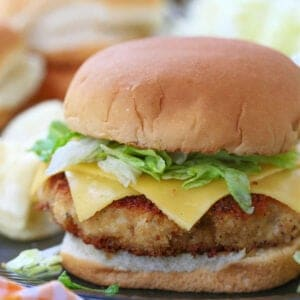 Crispy Chicken Patty on a bun with lettuce and cheese