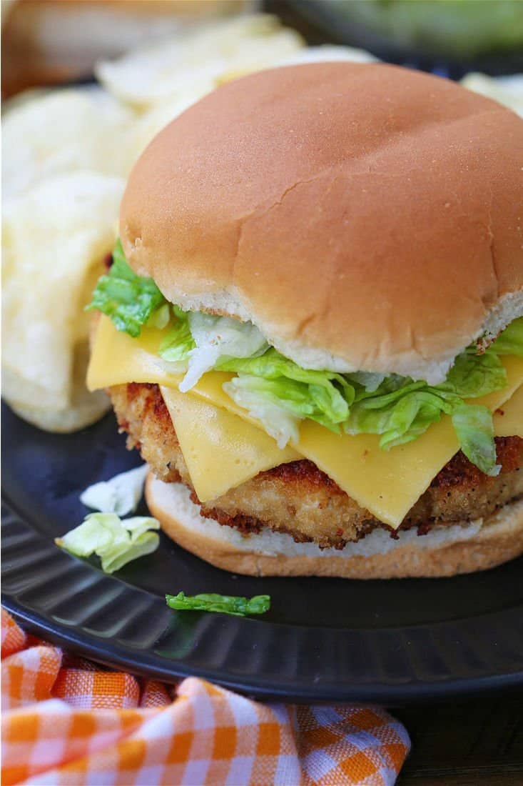 Chicken burger with lettuce and cheese