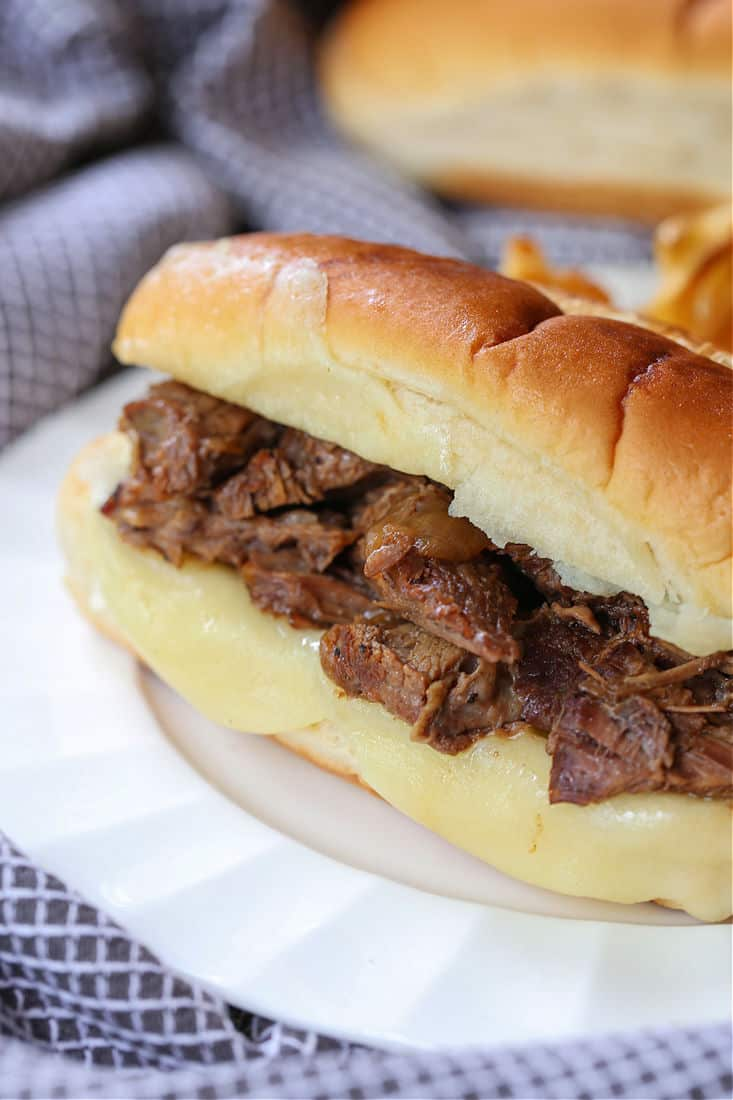 French Dip Sandwich on a plate with french fries