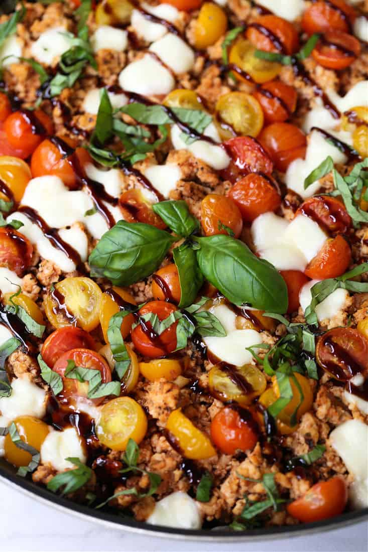 Ground Chicken Caprese recipe drizzled with balsamic vinegar