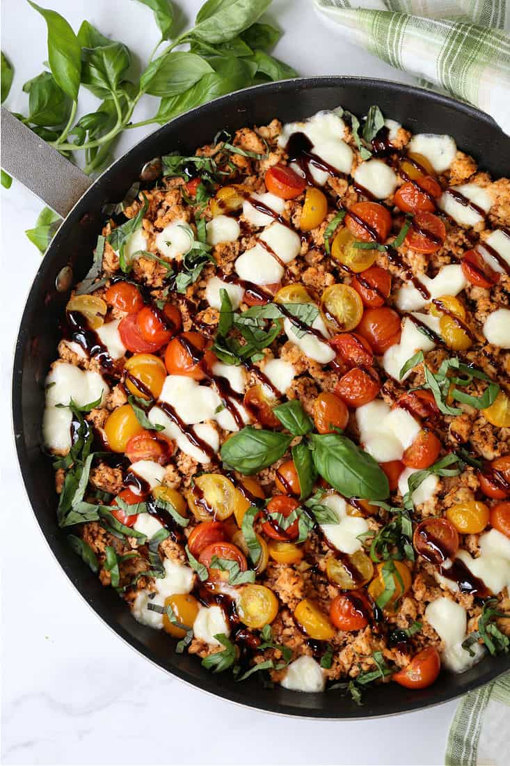 Ground Chicken dinner recipe with tomatoes, cheese and balsamic glaze