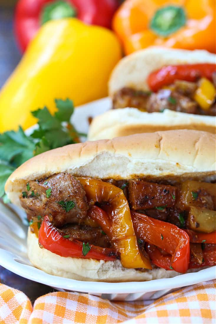 Sausage, peppers and potato sandwiches
