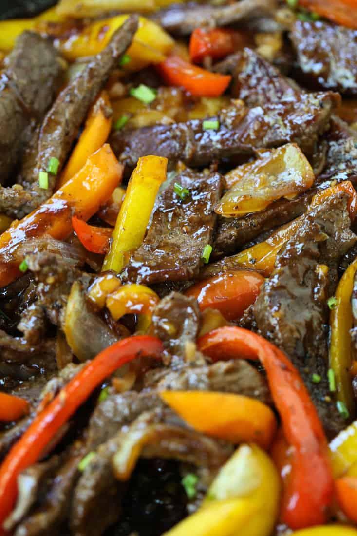 Pepper Steak recipe in a skillet cooking