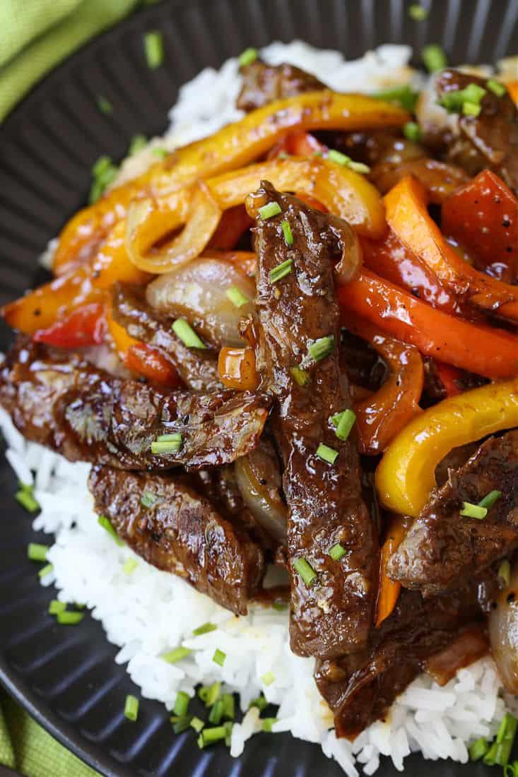 Pepper Steak recipe served over rice