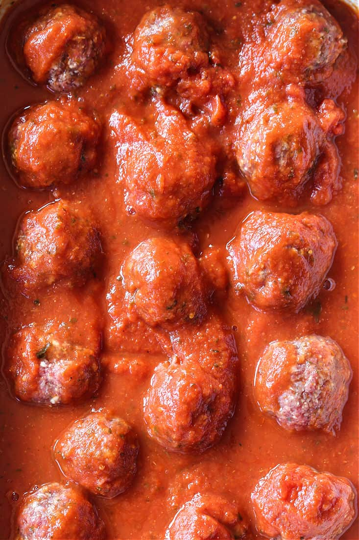 Slow Cooker Meatballs and Sauce in a crock pot