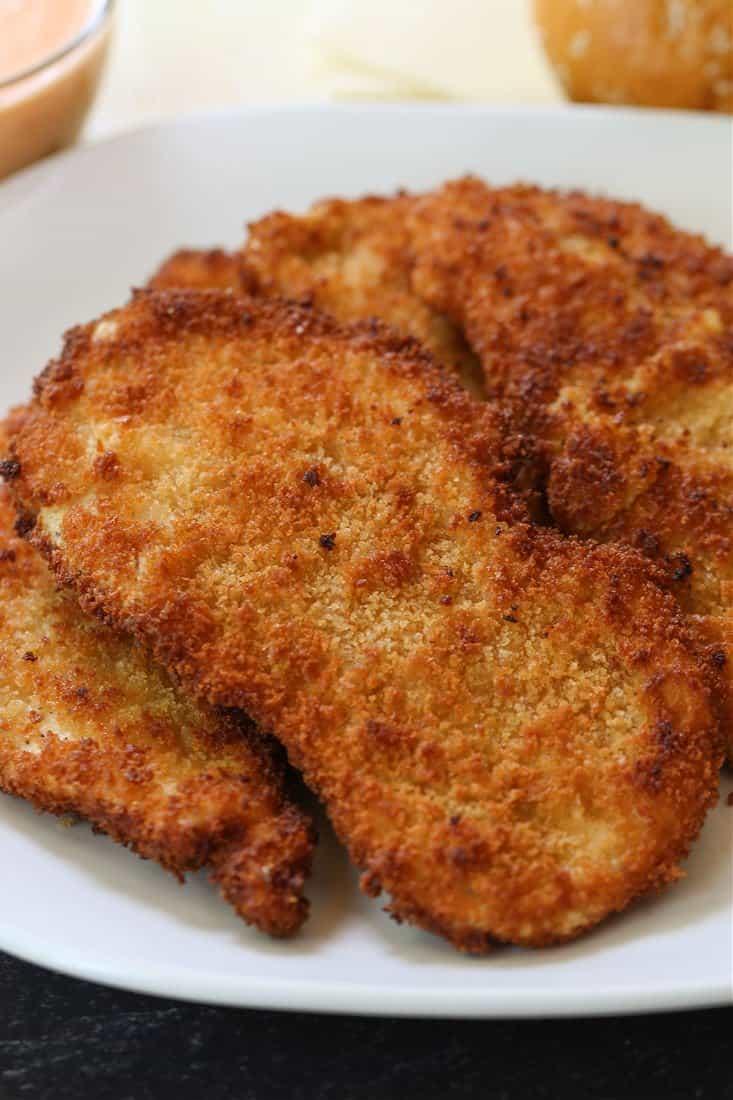 Crispy chicken cutlets on a plate