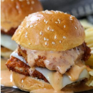Chicken Slider with mozzarella cheese and bang bang sauce