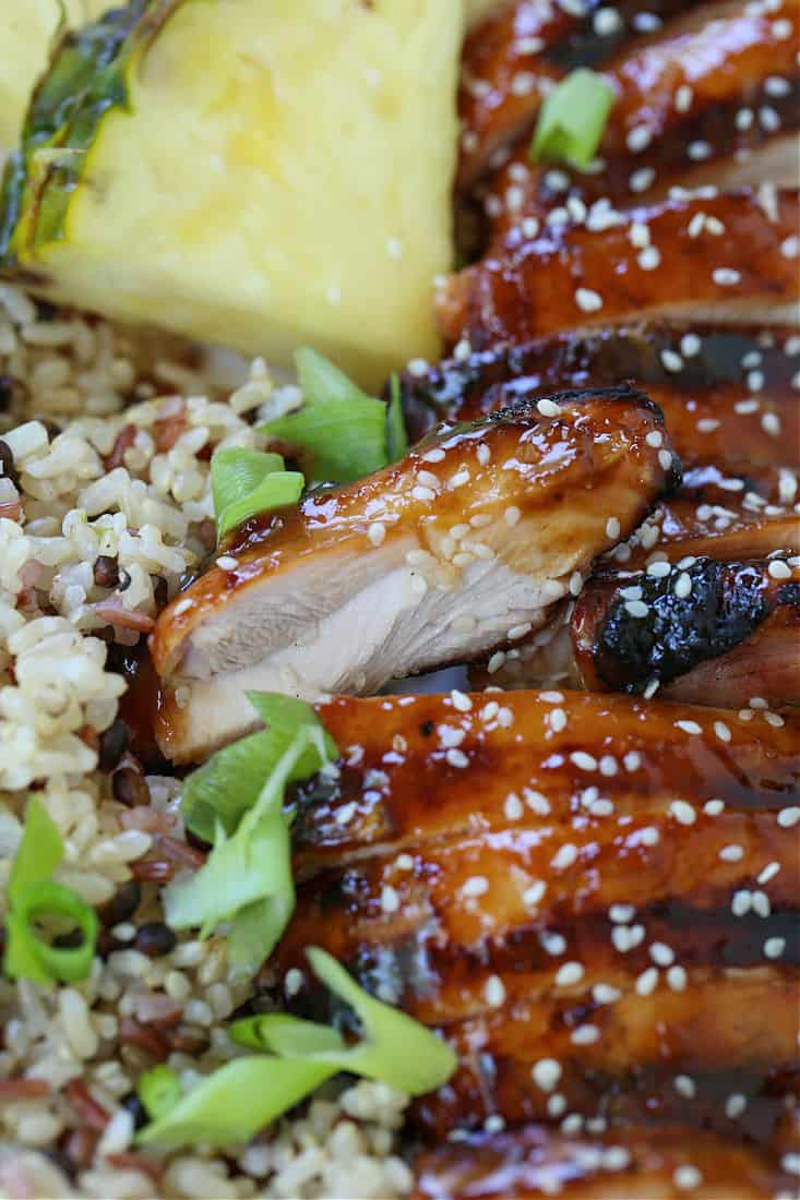 grilled chicken thighs basted with teriyaki glaze