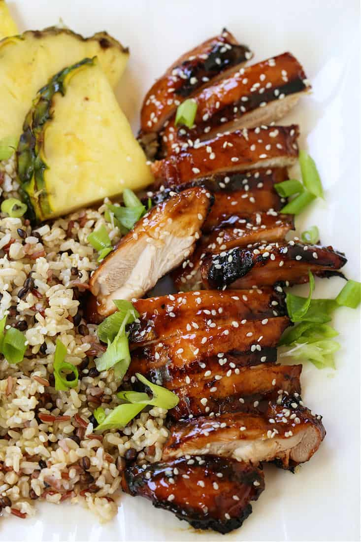 grilled chicken teriyaki on a plate with rice