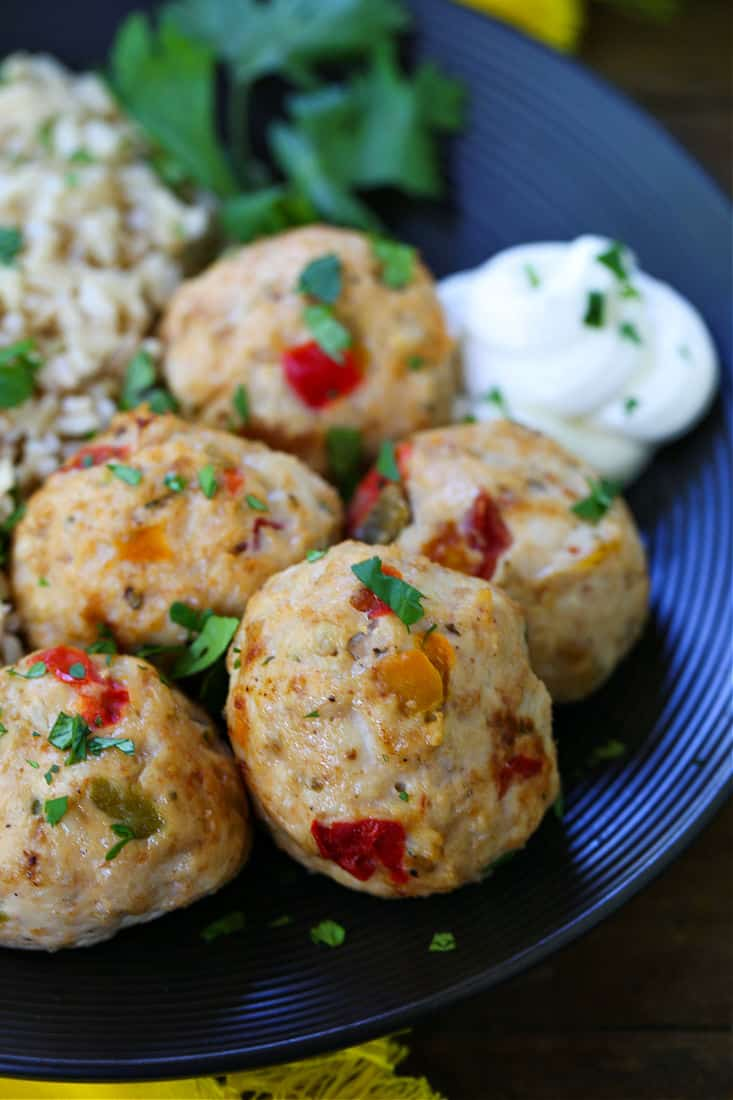 ground chicken meatballs with bell peppers and salsa