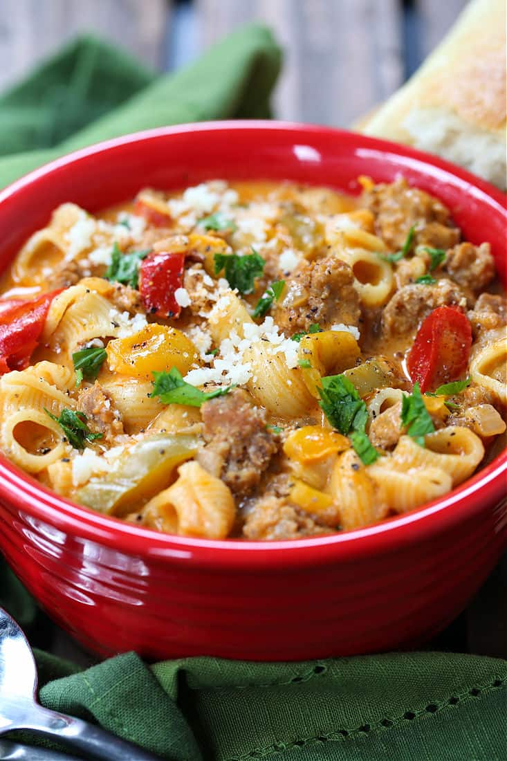 This Creamy Sausage and Peppers Soup is a hearty soup recipe with Italian sausage and peppers