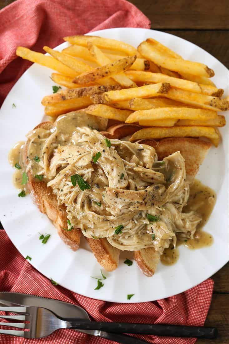 chicken and gravy recipe served over toast points with fries
