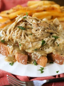 Crock Pot Chicken and Gravy over toast