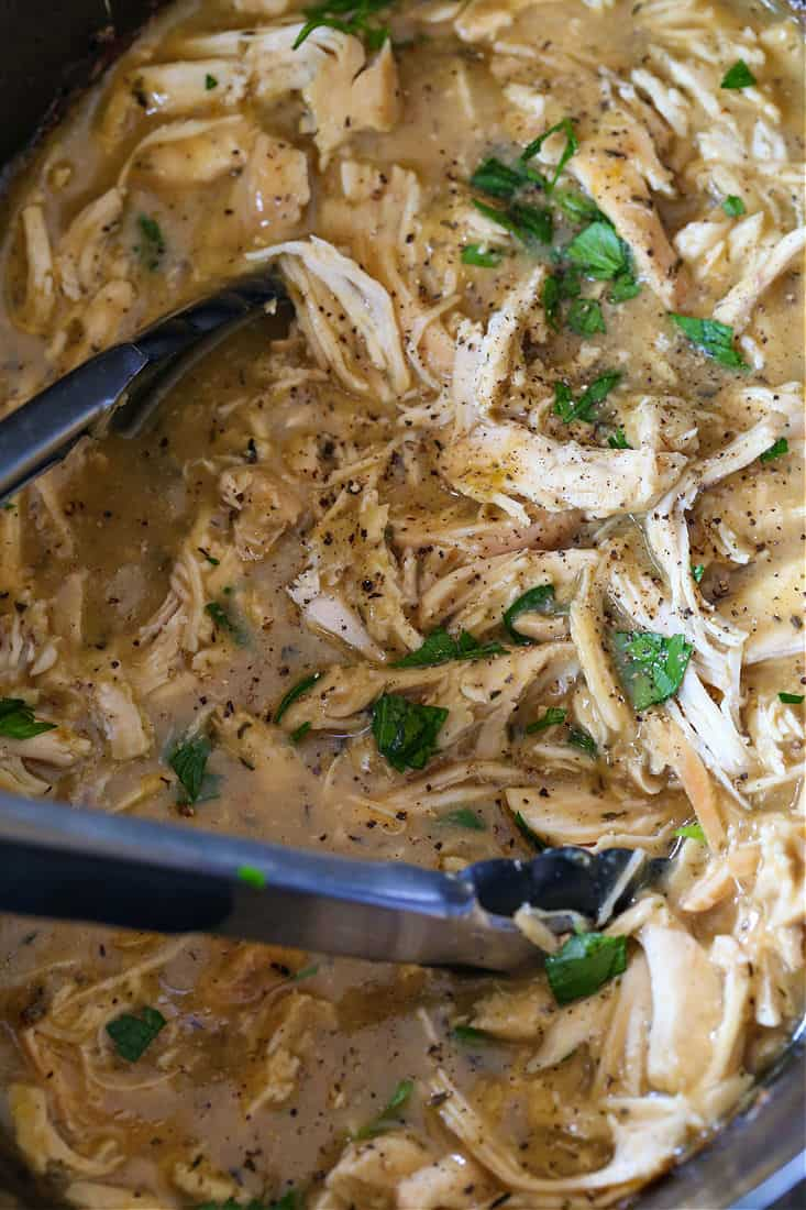 Shredded chicken and gravy recipe in a slow cooker