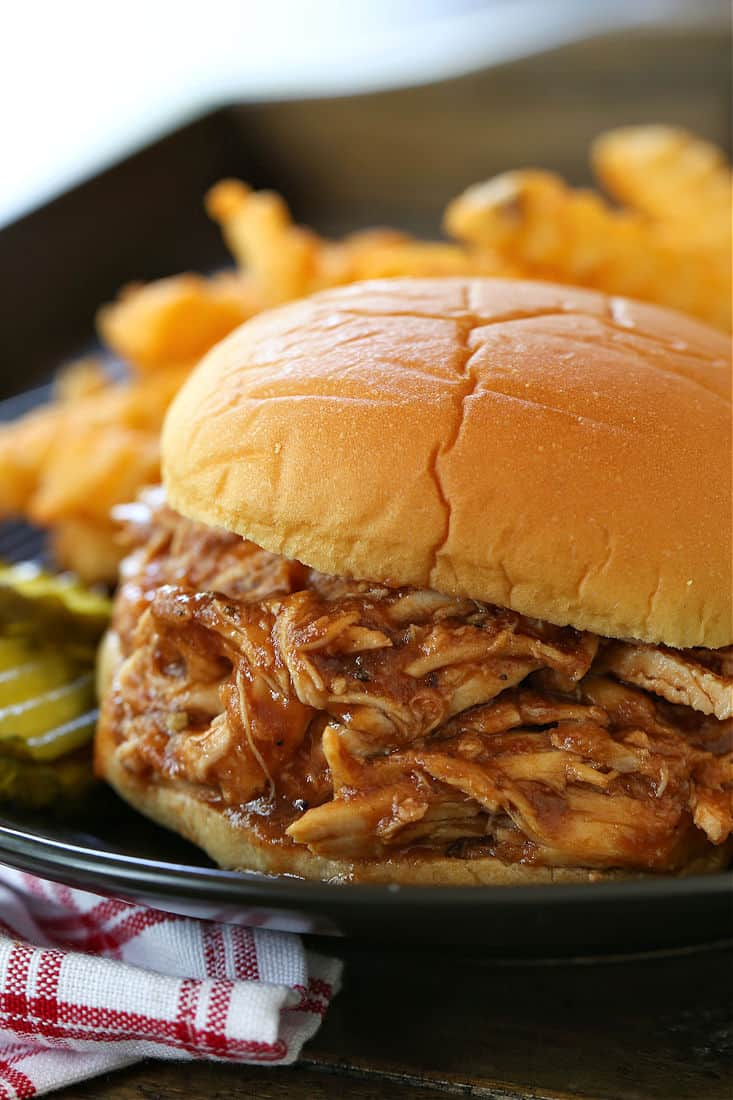 Root Beer Chicken on a bun with french fries