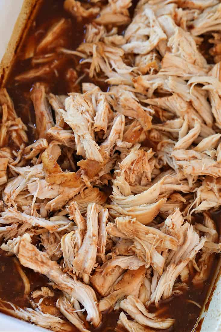 Shredded chicken in a root beer bbq sauce