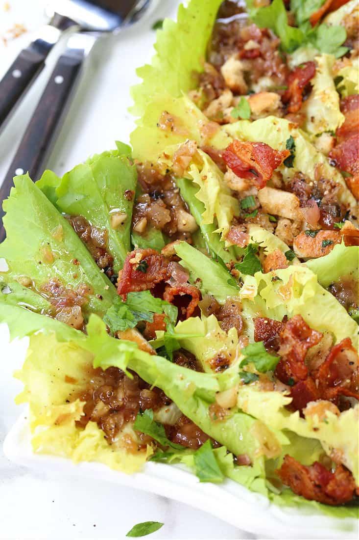 escarole salad recipe with a warm bacon dressing