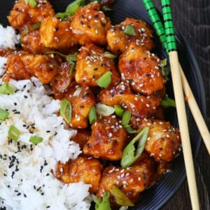 Crispy General Tso's Chicken made in an air fryer instead of deep fried