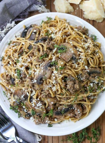 Spaghetti with ground beef and mushrooms on a plate