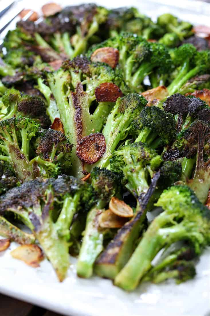 Roasted broccoli with garlic chips