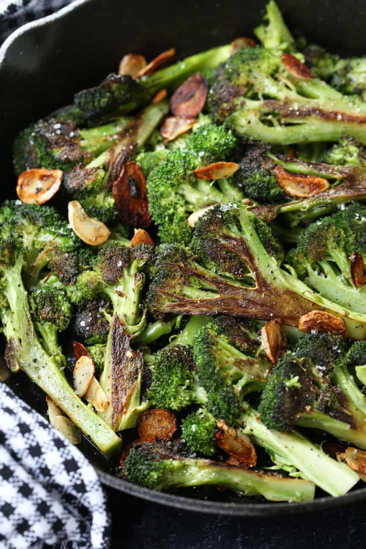 Roasted broccoli in a skillet