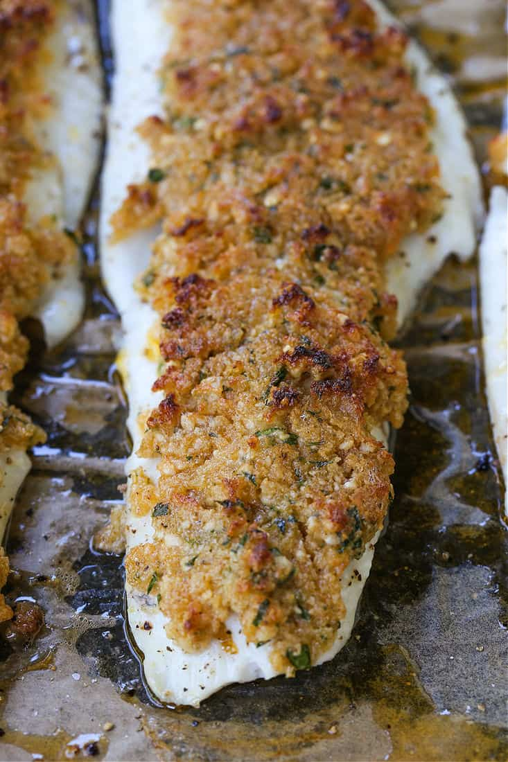 Parmesan Crusted Haddock after baking in the oven