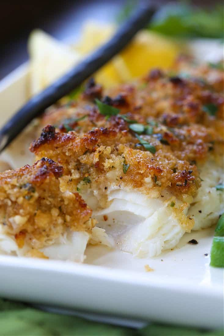 haddock covered in a parmesan and breadcrumb topping