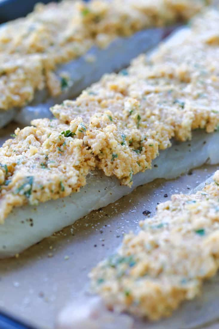 haddock recipe with a parmesan cheese and mayonnaise topping