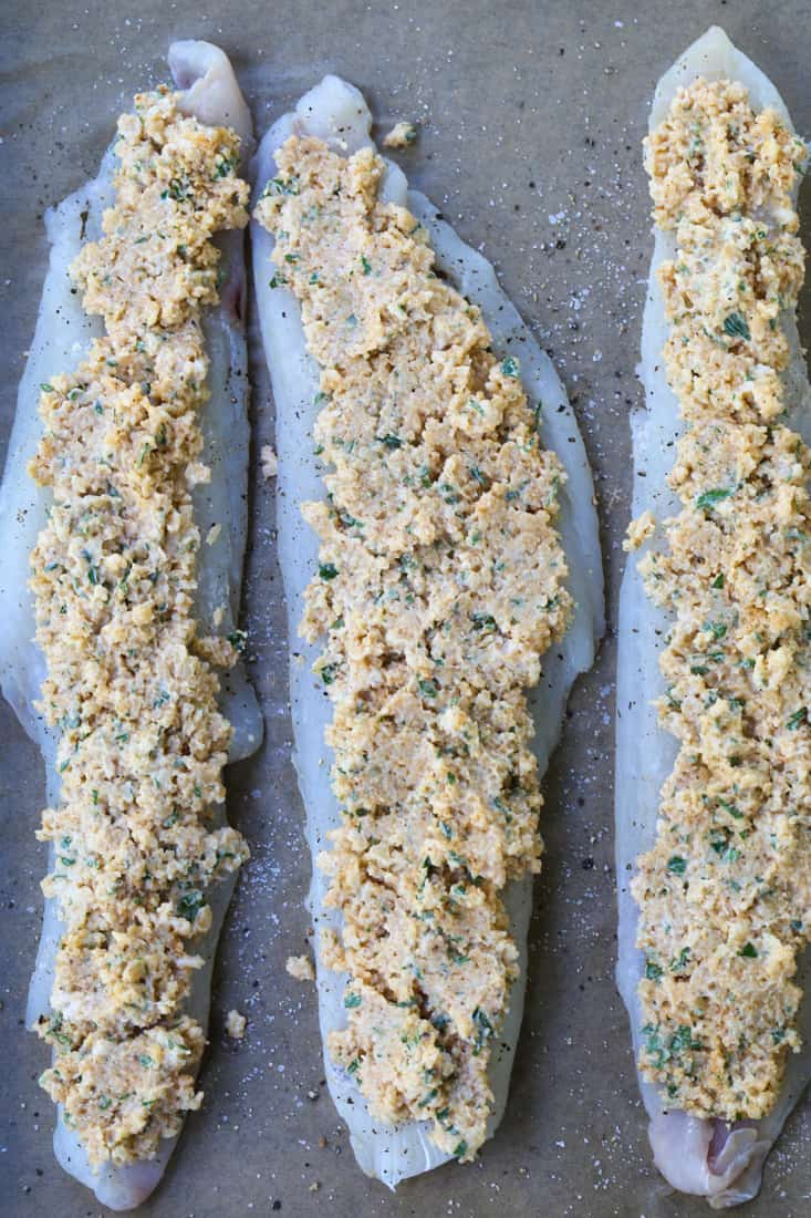 Haddock filets topped with a parmesan and mayonnaise topping