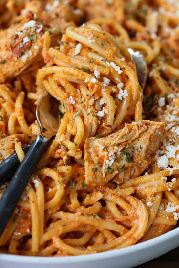 Chicken spaghetti on a fork with parmesan cheese