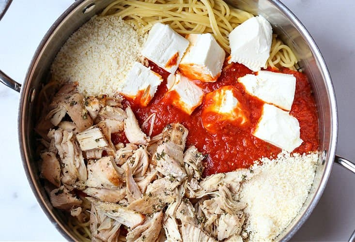 Ingredients to make chicken spaghetti in a pot