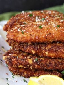 Flat Chicken is a breaded chicken cutlets with parmesan cheese and whole wheat bread crumbs
