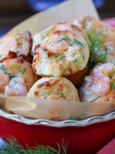 Shrimp Puffs in a bowl with fresh dill