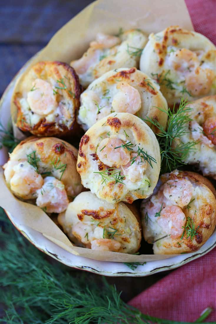 Appetizer recipe made with biscuit dough and mini shrimp